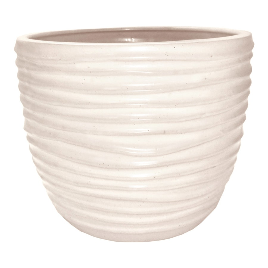 allen + roth 10.63-in x 9.72-in White Ceramic Planter