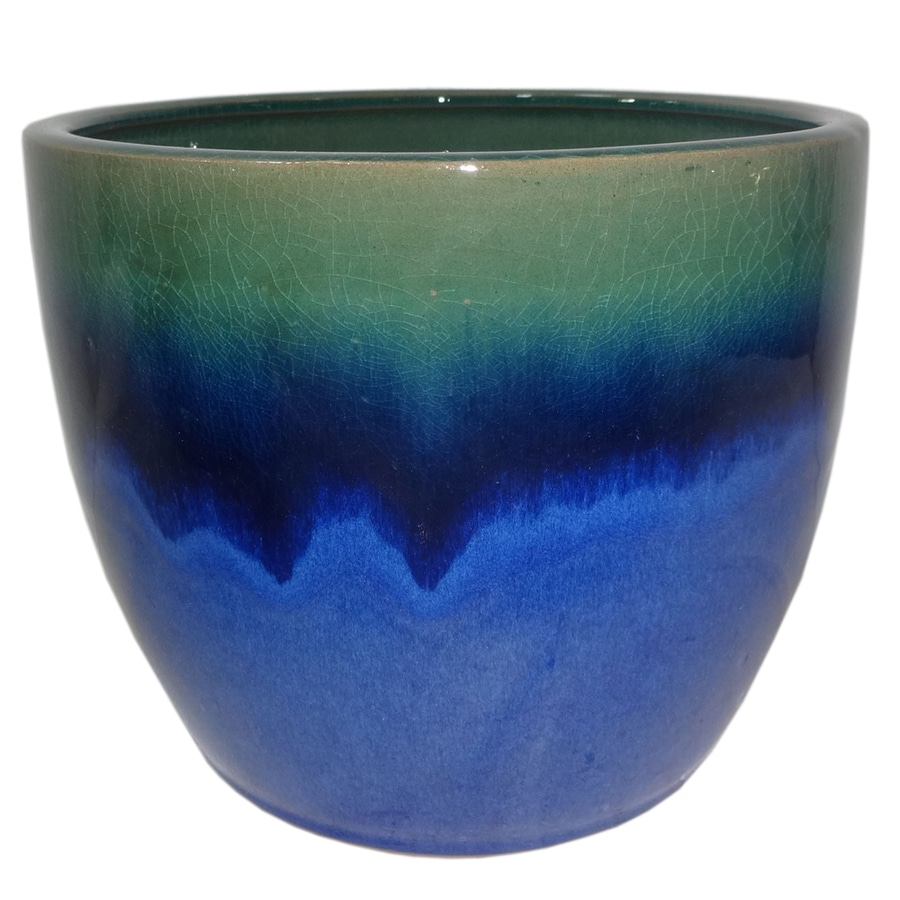 allen + roth 8.07-in x 7.28-in Blue Green Ceramic Planter