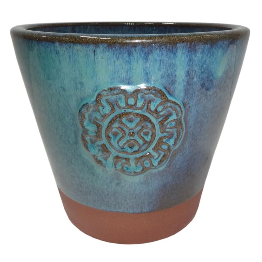 Garden Treasures 9.06-in x 9.06-in Green Ceramic Planter