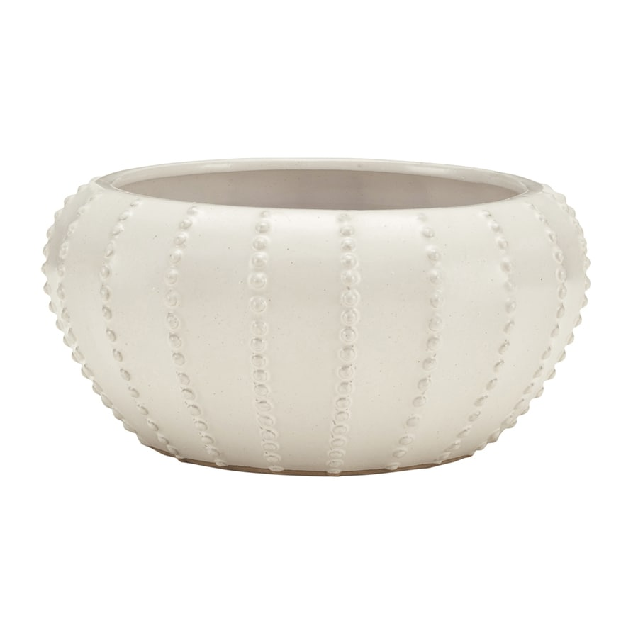 allen + roth 8.66-in x 5.51-in Ceramic Round Planter