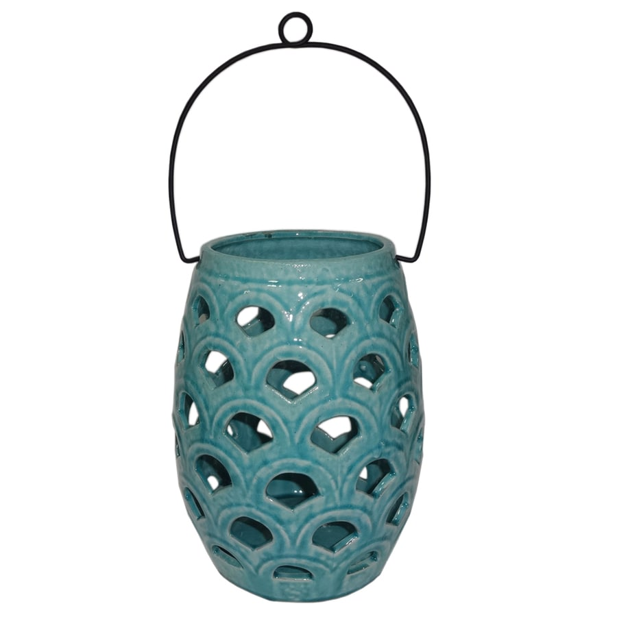 allen + roth 6.50-in x 8.07-in Aqua Ceramic Tea Light Outdoor Decorative Lantern