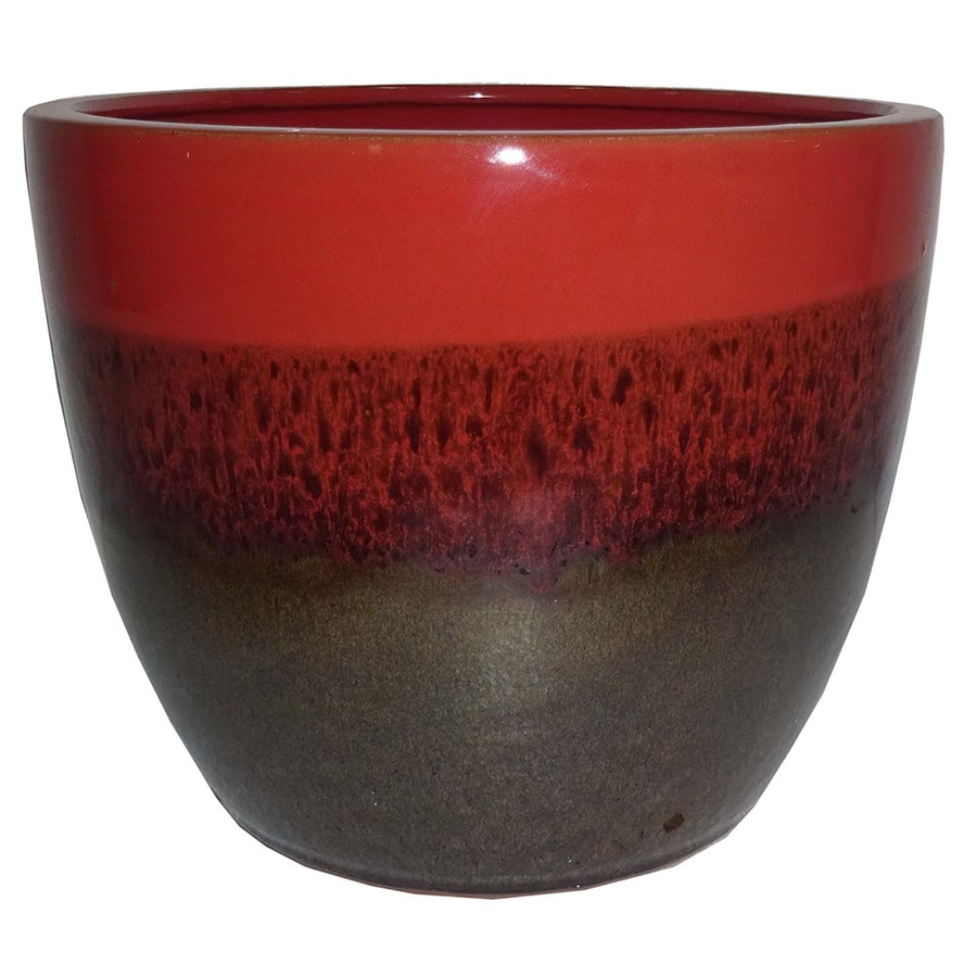 Garden Treasures 10.63-in x 9.84-in Brown Red Ceramic Planter