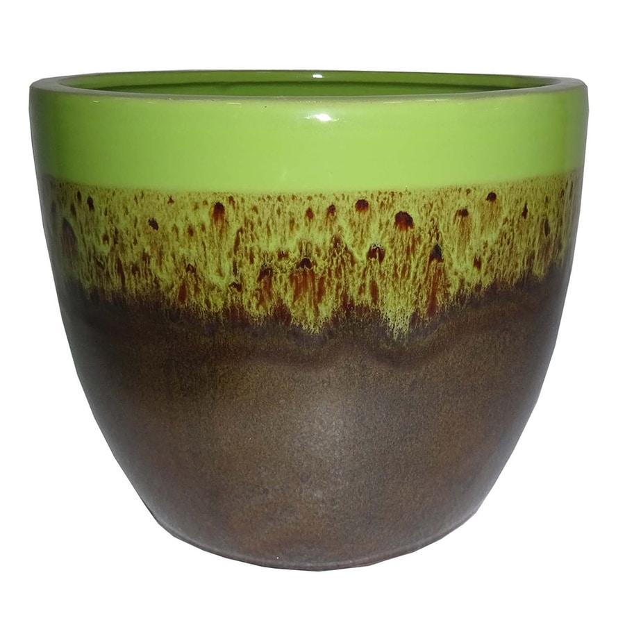 Garden Treasures 10.63-in x 9.84-in Brown Green Ceramic Planter