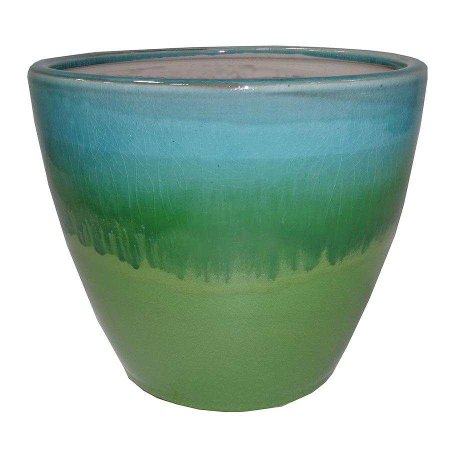 allen + roth 7.48-in x 7.28-in Green Aqua Ceramic Planter