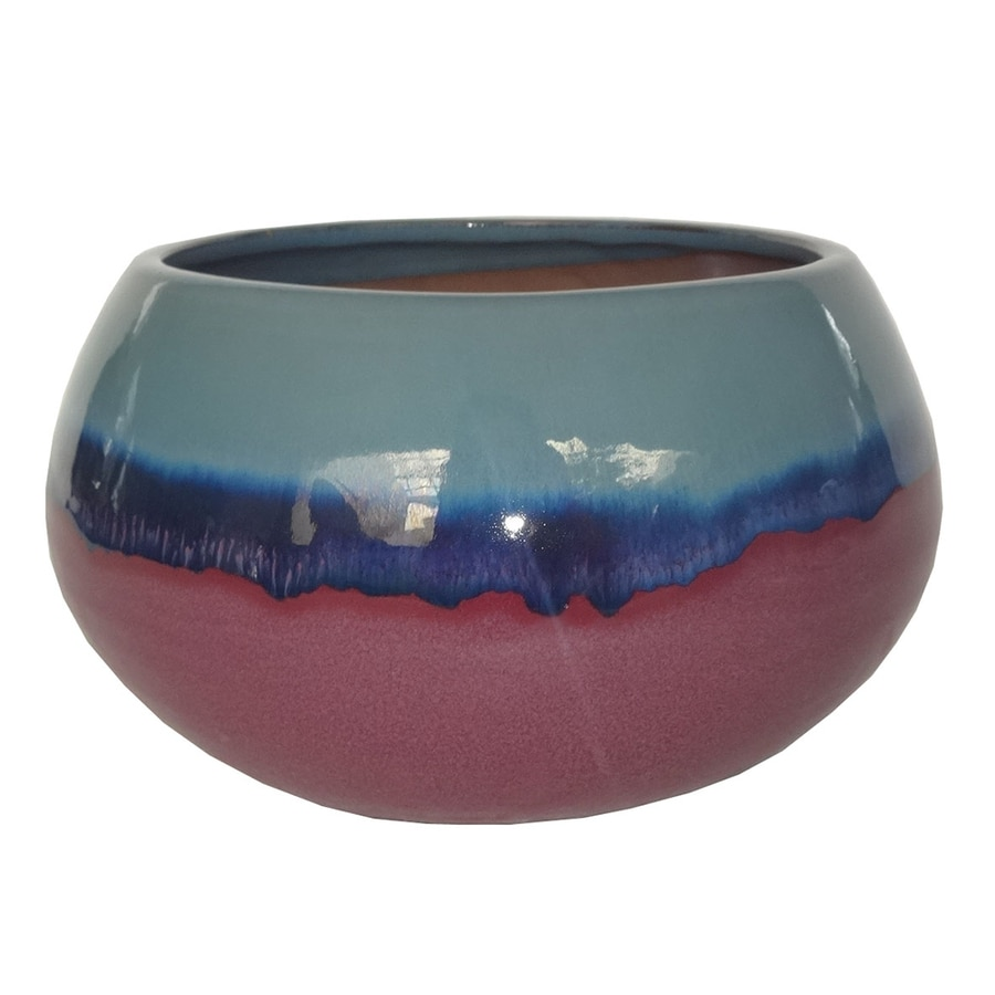allen + roth 5.71-in x 4.33-in Purple Blue Ceramic Low Bowl Planter