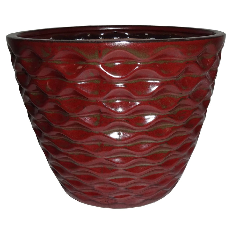 Garden Treasures 9.65-in x 8.86-in Copper Ceramic Planter