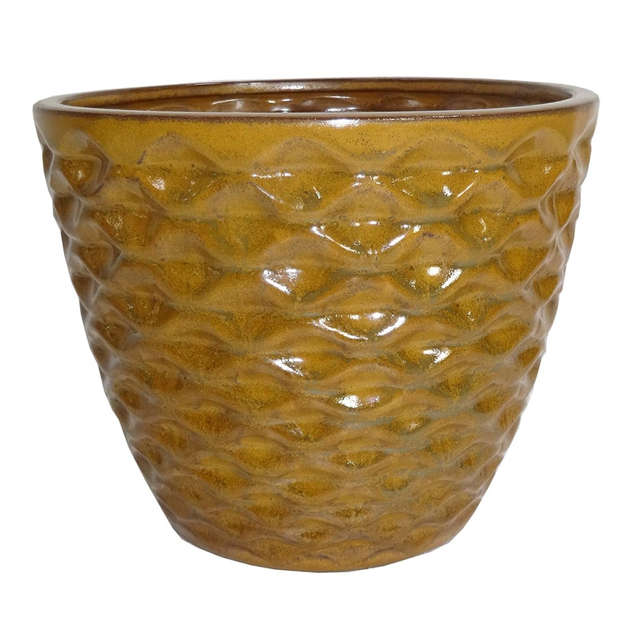 Garden Treasures 7.28-in x 6.69-in Yellow Ceramic Planter