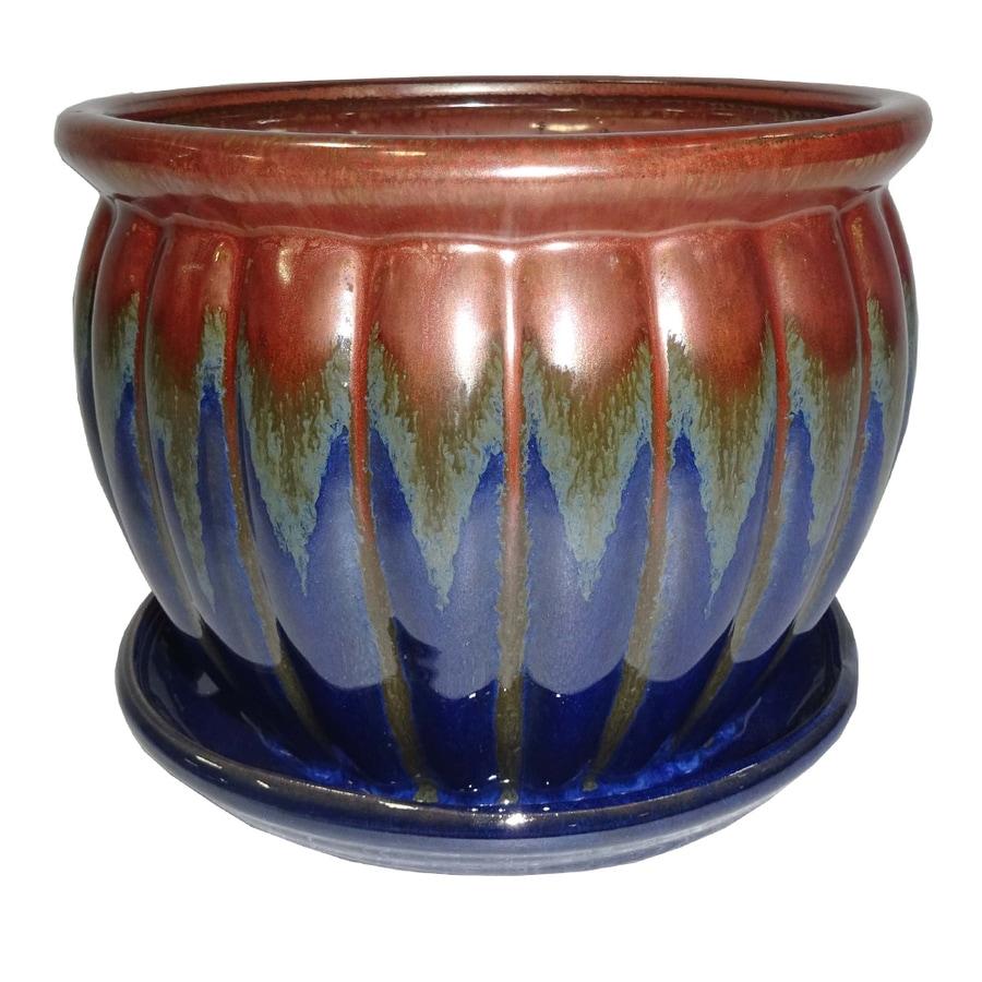 Garden Treasures 8.86-in x 7.87-in Blue Copper Ceramic Planter