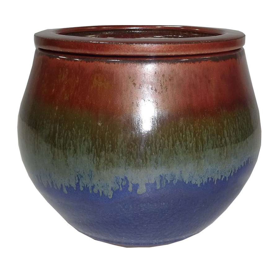 Garden Treasures 4.72-in x 5.12-in Blue Copper Ceramic Self Watering Planter