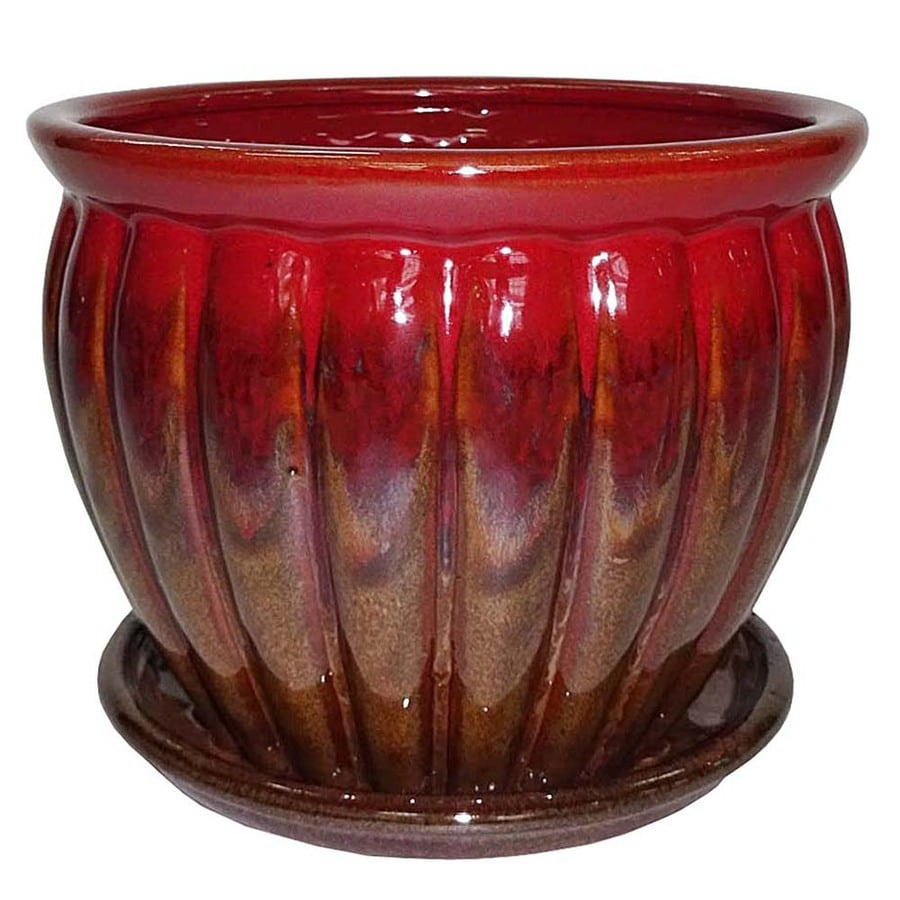 Garden Treasures 6.22 In X 5.71 In Brown Red Ceramic Planter