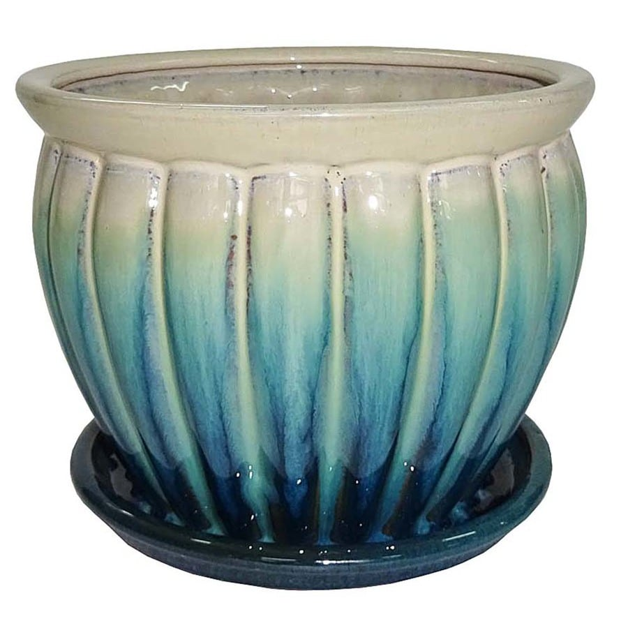 Garden Treasures 6.22-in x 5.71-in Teal Cream Ceramic Planter
