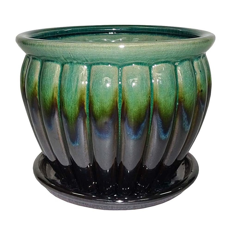 Garden Treasures 6.22 In W X 5.71 In H Metallic Green Ceramic Planter