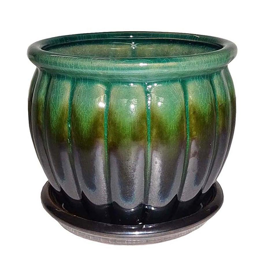 Garden Treasures 4.72-in x 4.72-in Metallic Green Ceramic Planter