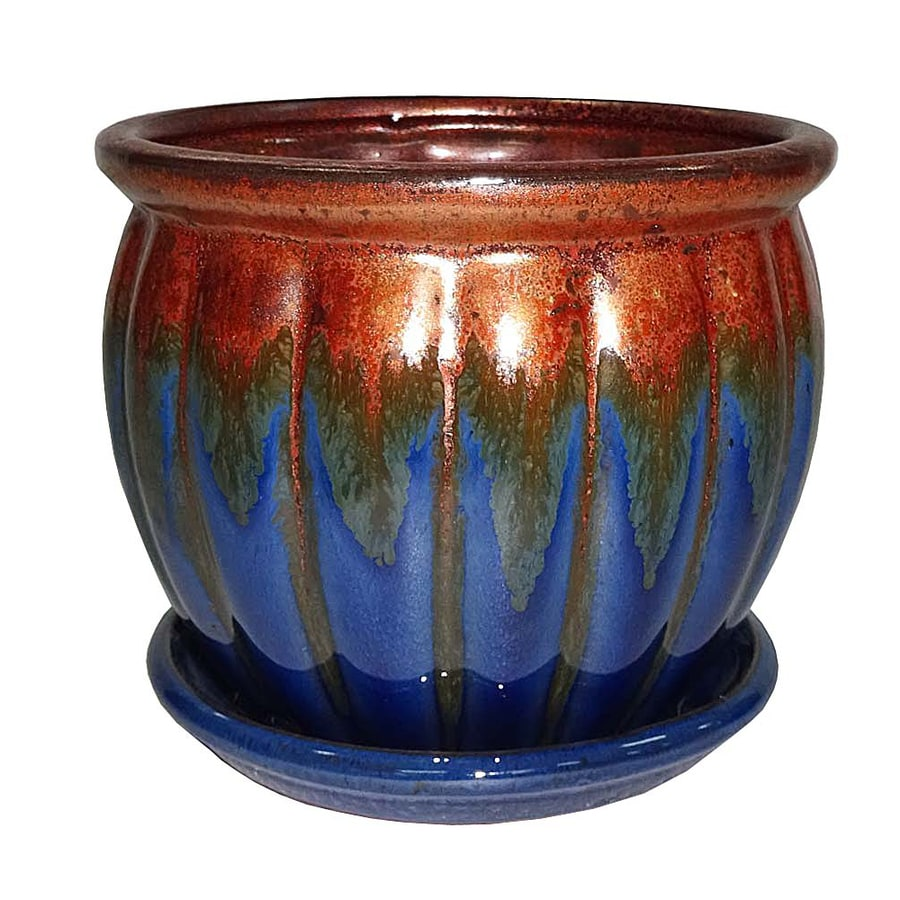 Garden Treasures 4.72-in x 4.72-in Blue Copper Ceramic Planter