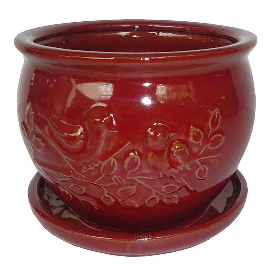 Garden Treasures 9.06-in x 7.87-in Ceramic Round Planter