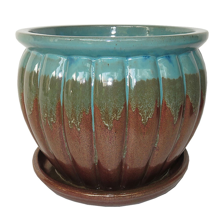 Garden Treasures 10.63 In X 10.24 In Ceramic Round Planter