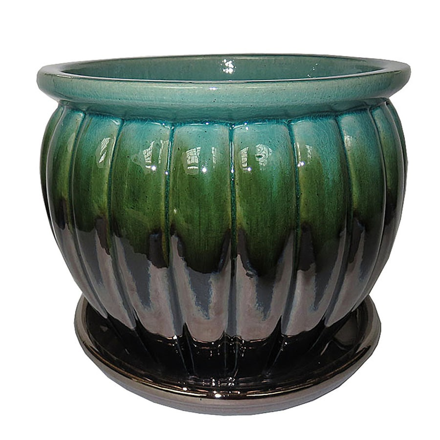 Garden Treasures 10.63 In W X 10.24 In H Ceramic Round Planter
