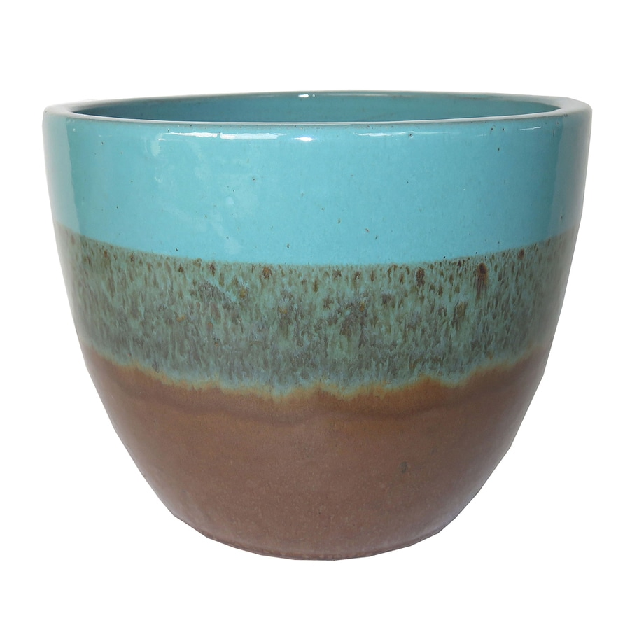 Garden Treasures 7.87-in x 7.28-in Ceramic Round Planter