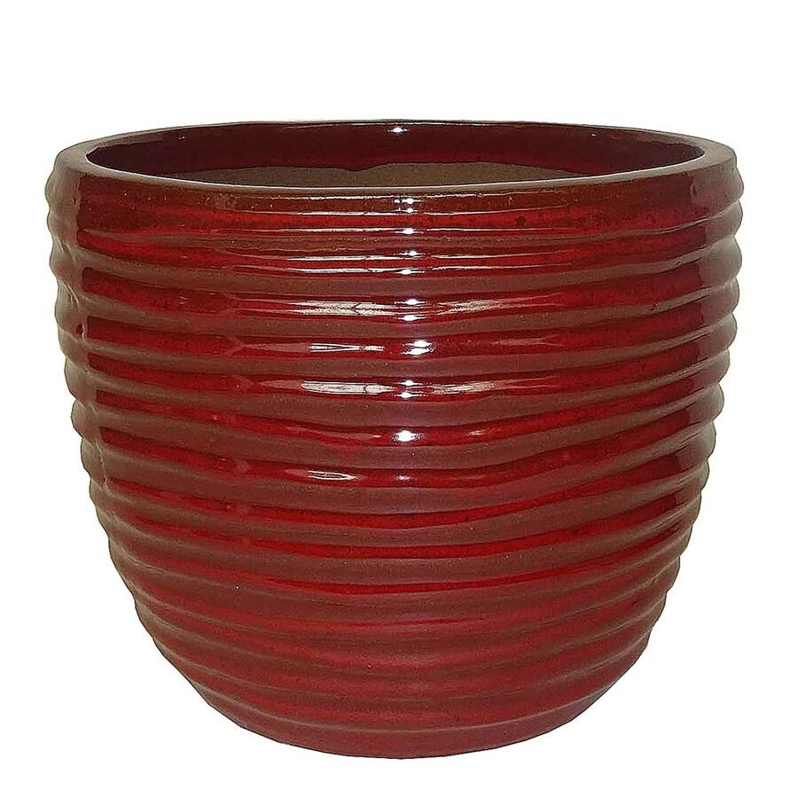 allen + roth 8.07-in x 7.48-in Ceramic Round Planter