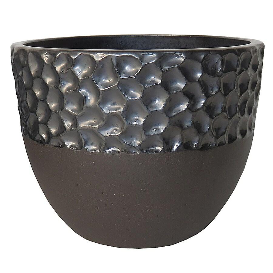 allen + roth 8.07-in x 6.89-in Ceramic Hammered Press Planter