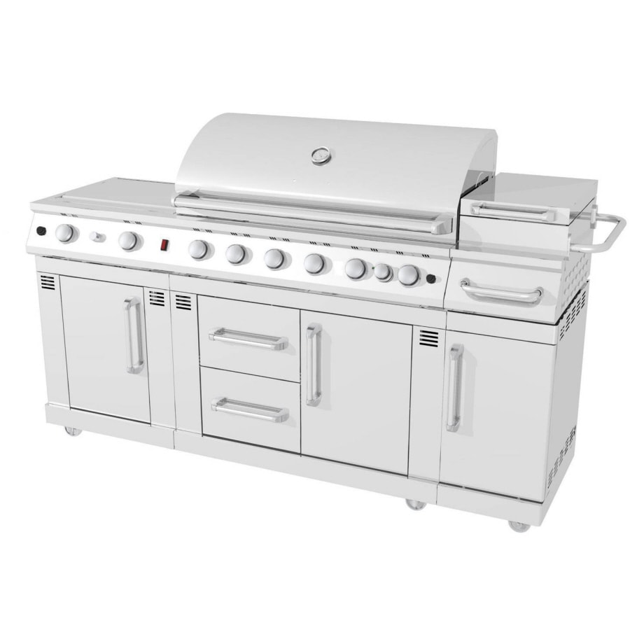 Master Forge 6-Burner (73,000-BTU) Natural Gas or Liquid Propane Gas Grill with Two Side Burners