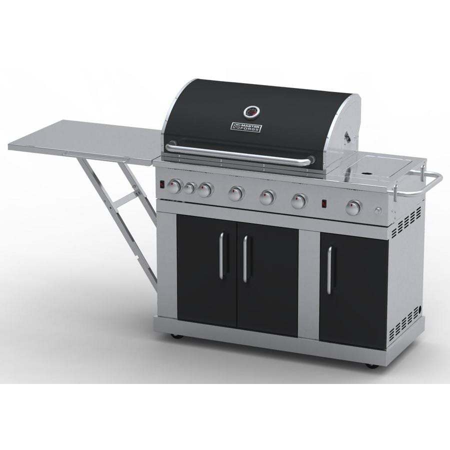 Master Forge Outdoor Grill Silver with Black Hood and Door 5-Burner (60,000-BTU) Liquid Propane Infrared Burner Gas Grill with Rotisserie Burner