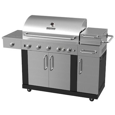 New Outdoor Kitchen 5-Burner Both Gas Grill with 1 Side Burner