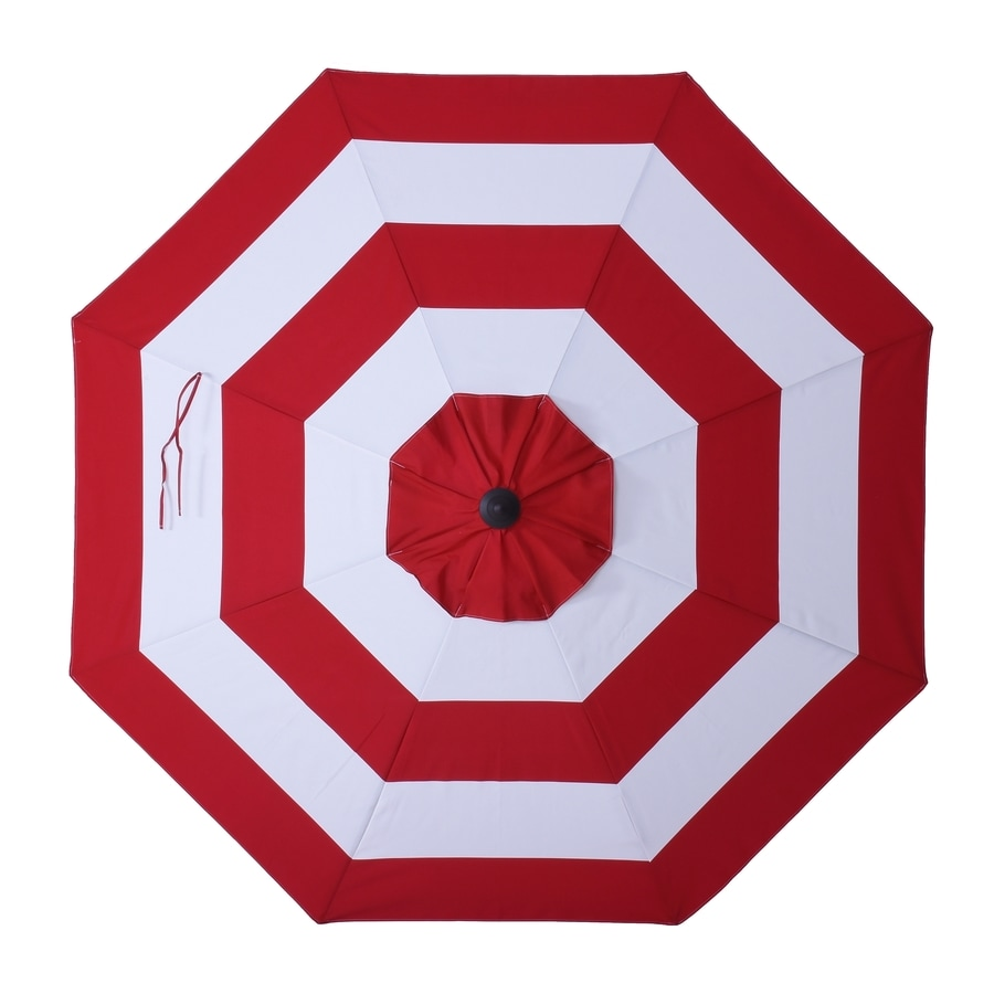 allen + roth Red Awning Market Patio Umbrella (Common: 9-ft W x 9-ft L; Actual: 8.6-ft W x 8.6-ft L)