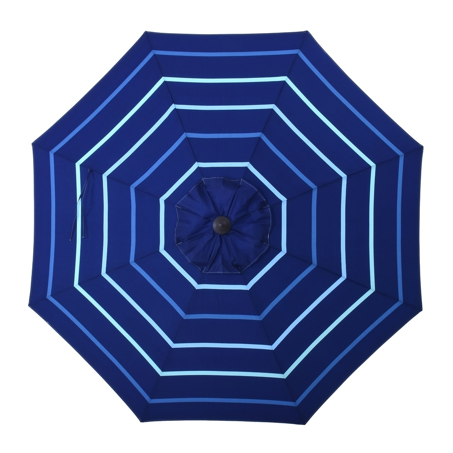 allen + roth Blue Stripe Market Patio Umbrella (Common: 9-ft W x 9-ft L; Actual: 8.6-ft W x 8.6-ft L)