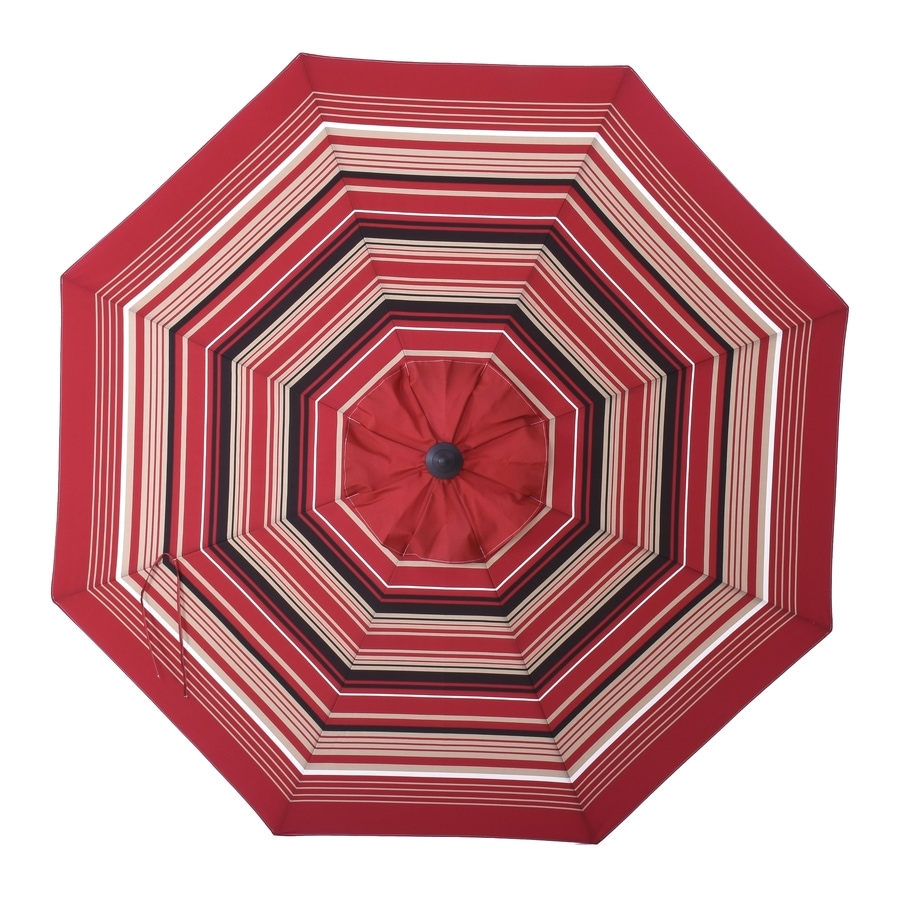 allen + roth Red Wheat stripe Market 9-ft Auto-tilt Round Patio Umbrella - Allen + Roth Red Wheat Stripe Market 9-ft Auto-tilt Round Patio