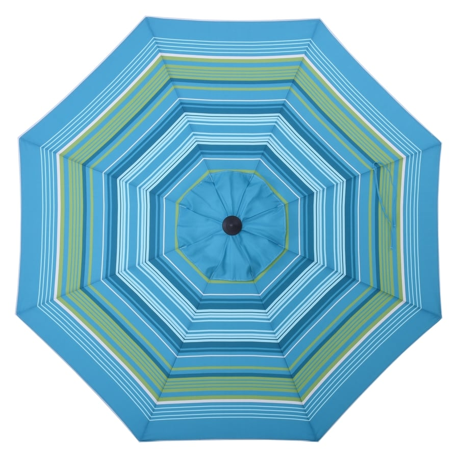 Shop allen roth teal green stripe market 9 ft patio for Patio table umbrella 6 foot