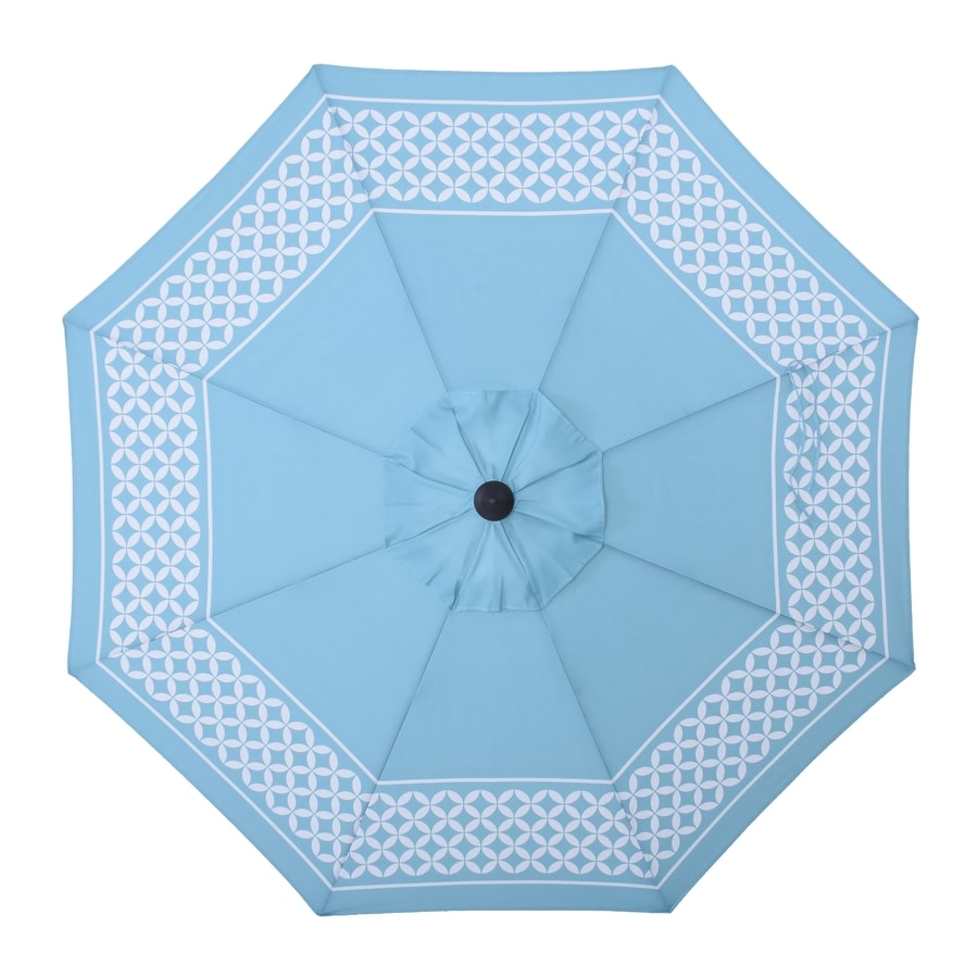 allen + roth Blue Market Patio Umbrella (Common: 9-ft W x 9-ft L; Actual: 8.6-ft W x 8.6-ft L)