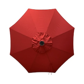 Simply Shade Red Market Pre-lit 9-ft Auto-tilt Round Patio Umbrella with Brown Aluminum Frame