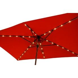 Simply Shade Red Market Pre-lit 7-ft No-tilt Rectangular Patio Umbrella with Brown Aluminum Frame