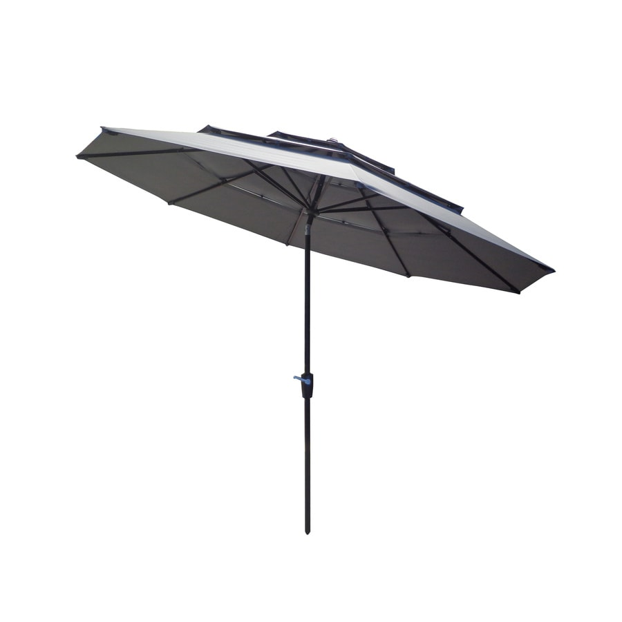 allen + roth Gray Market Patio Umbrella (Common: 11-ft W x 11-ft L; Actual: 10.7-ft W x 10.7-ft L)