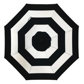 Allen Roth Black And White Stripe Market 9 Ft Patio Umbrella