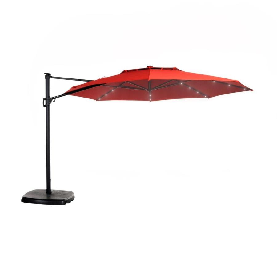 Simply Shade Red Offset Pre Lit 11 Ft Patio Umbrella With Base