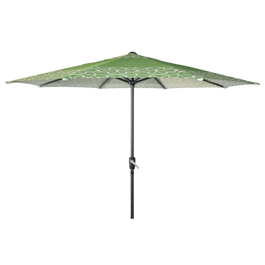 Garden Treasures Round Scrolls Green Market Umbrella with Crank (Common: 105-in; Actual: 105-in)