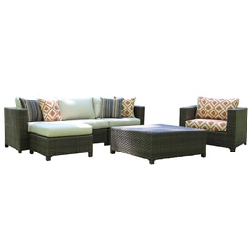 Ae Outdoor Biscayne 5 Piece Resin Frame Patio Conversation Set With Canvas Flax Sunbrella