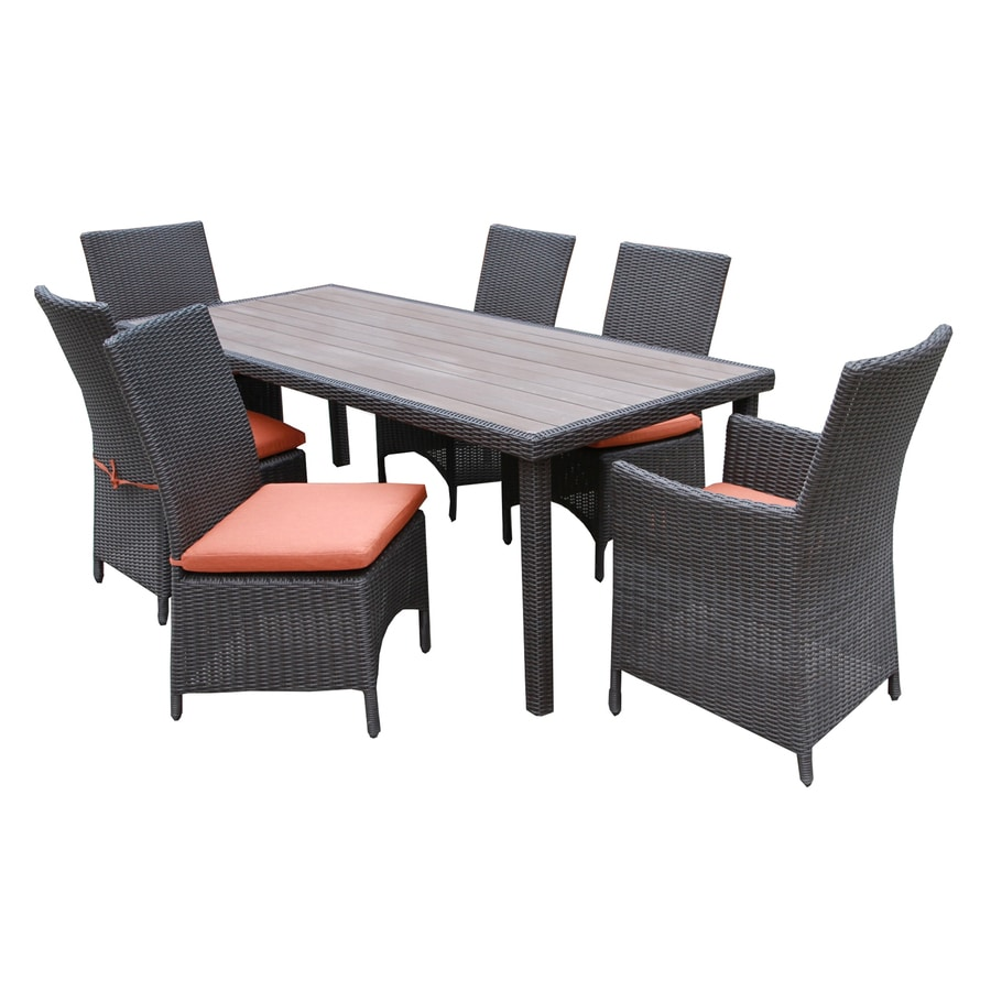 AE Outdoor Denali 7 Piece Black Plastic Frame Patio Dining Set With  Canvas Brick