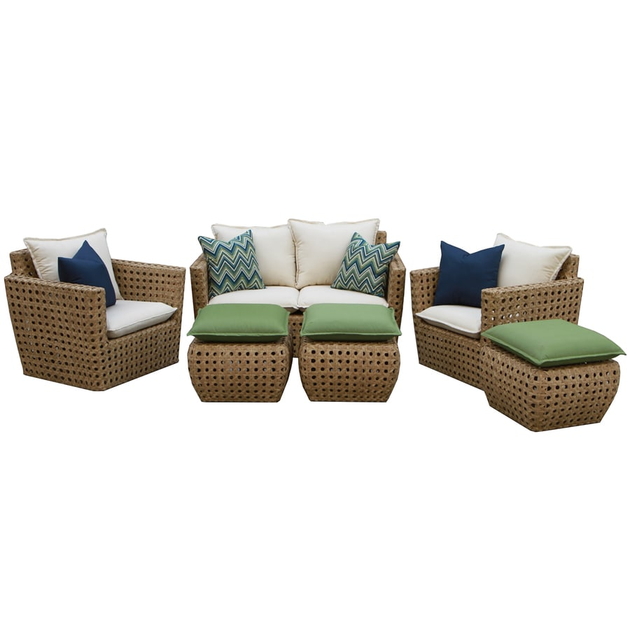 Shop ae outdoor bethany 6 piece resin frame patio for Patio conversation sets