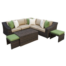 Ae Outdoor Williams 5 Piece Resin Frame Patio Conversation Set With Canvas Heather Beige