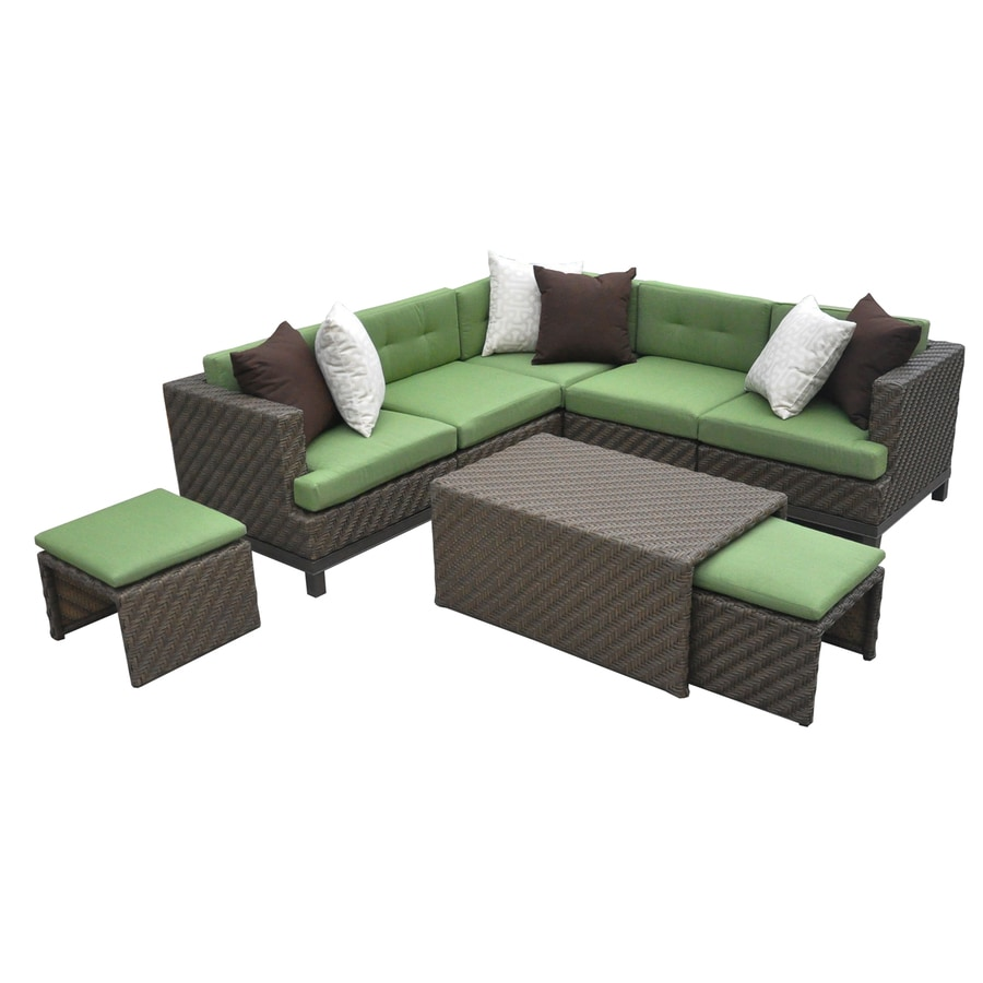 AE Outdoor Hampton 8 Piece Resin Frame Patio Conversation Set With  Spectrum Cilantro Sunbrella