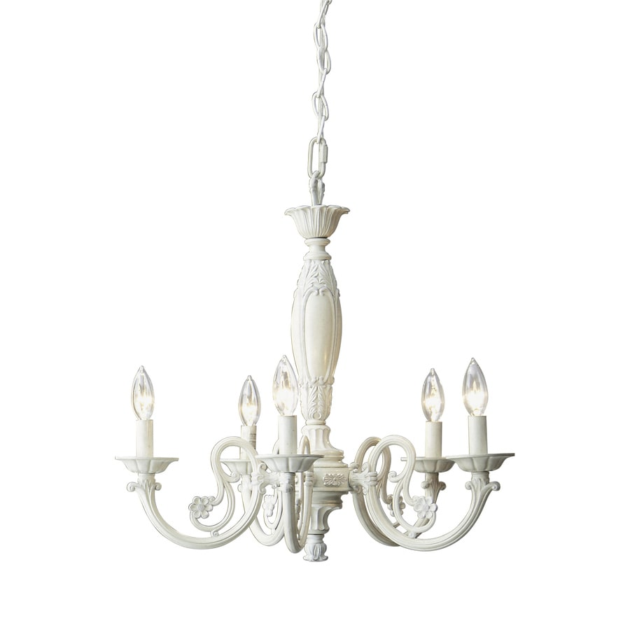 Style Selections 22-in 5-Light Antique White Standard Chandelier - Shop Style Selections 22-in 5-Light Antique White Standard