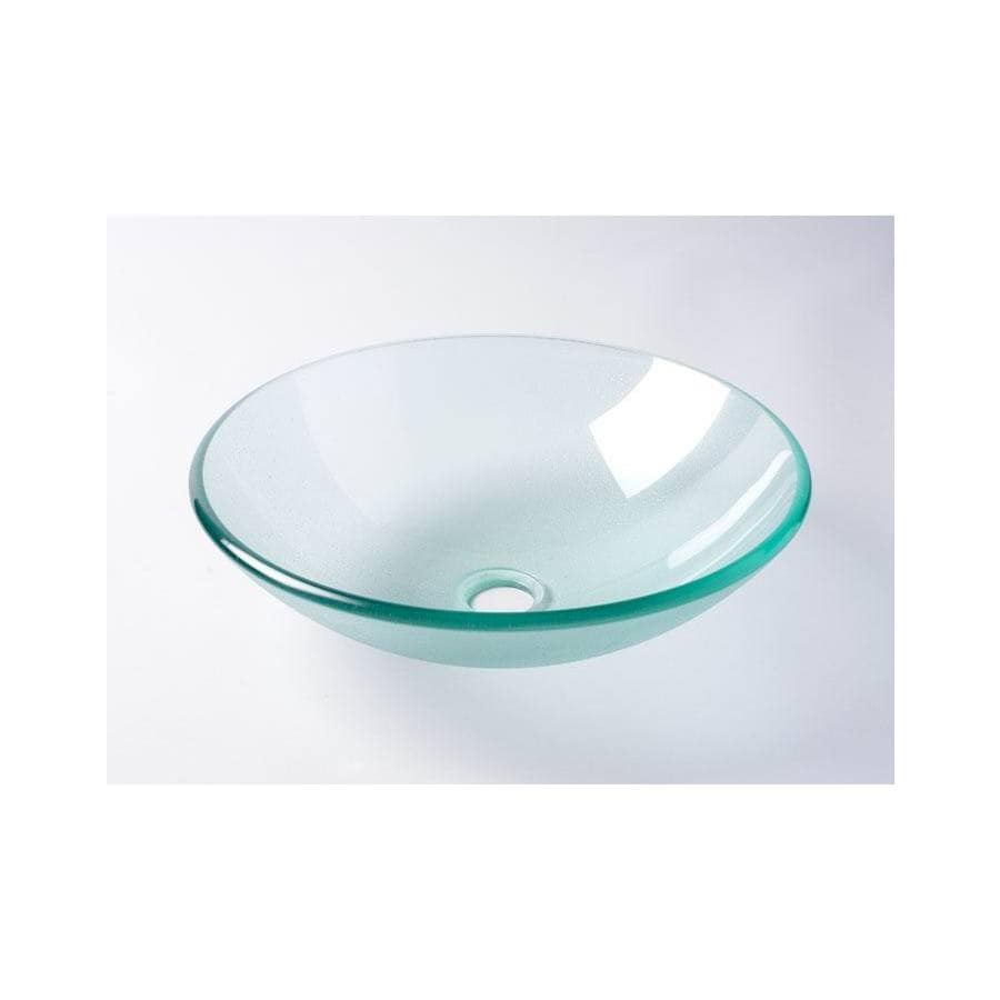 AquaSource Frosted Tempered Glass Vessel Round Bathroom Sink