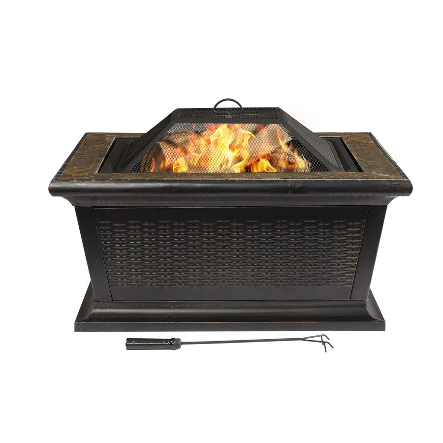 36-in W Rubbed Bronze Steel Wood-Burning Fire Pit