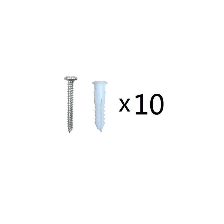 Blue Hawk 10-Pack 1.25-in x 0.164-in White Steel Light-Duty All-Purpose Anchor with Screws