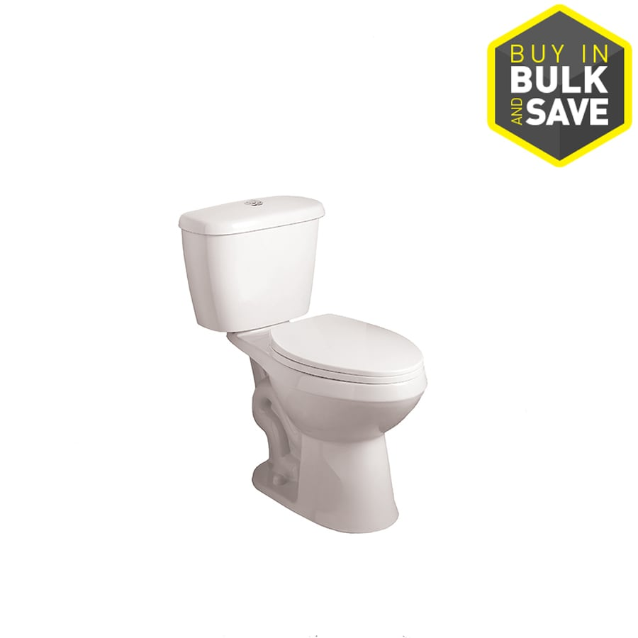 AquaSource High-Efficiency 1.1-GPF White WaterSense Dual-Flush Elongated Chair Height 2-Piece Toilet
