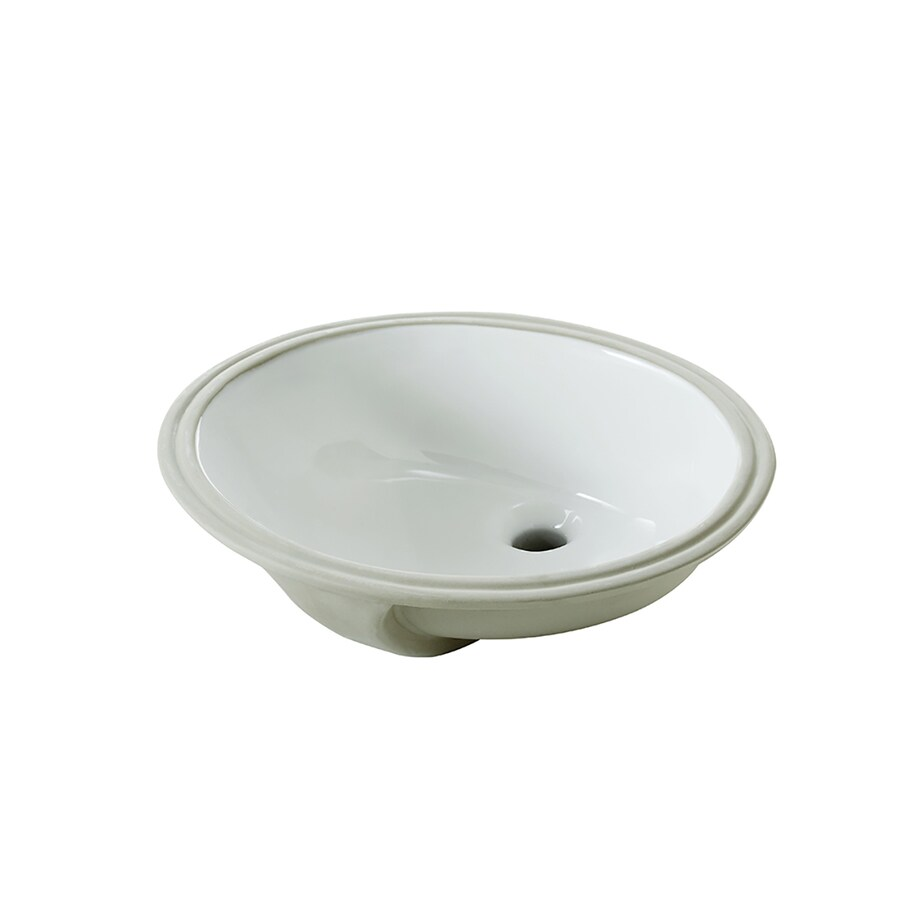 AquaSource White Undermount Oval Bathroom Sink with Overflow