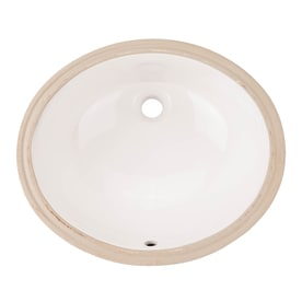 AquaSource White Undermount Oval Bathroom Sink With Overflow Drain